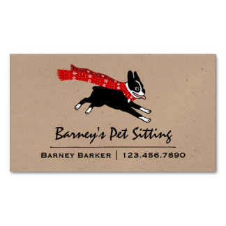 Boston Terrier Wearing Red Winter Scarf Magnetic Business Card