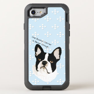 Boston Terrier, White Diamonds on Blue OtterBox Defender iPhone 8/7 Case