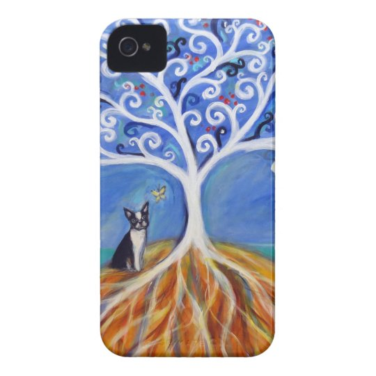 Boston Terrier White Tree of Life iPhone 4