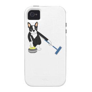 Boston Terrier Winter Olympics Curling iPhone 4 Case