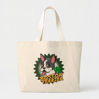 Boston Terrier with a four leaf clover Jumbo Tote Bag
