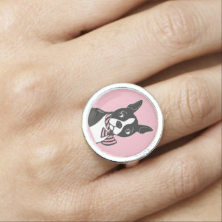 Boston Terrier with Bow Tie Pink Ring