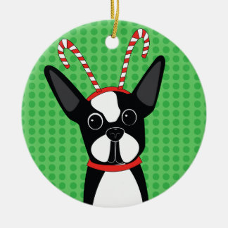 Boston Terrier with Candy Cane Headband Ornament