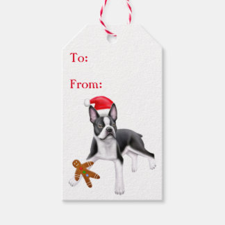 Boston Terrier with Cookie Christmas Gift Tags