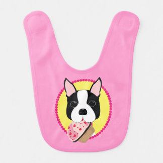 Boston Terrier with Cupcake Baby Bib