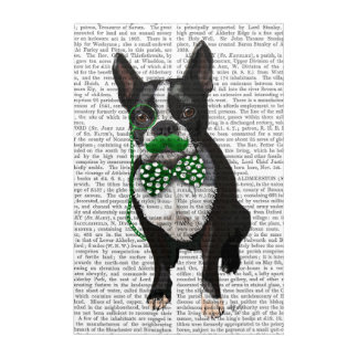 Boston Terrier With Green Moustache Acrylic Wall Art