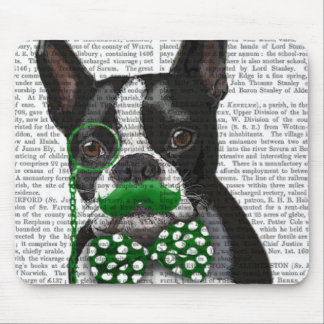 Boston Terrier With Green Moustache And Spotty 2 Mouse Pad