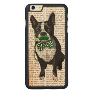 Boston Terrier With Green Moustache And Spotty Carved Maple iPhone 6 Plus Case