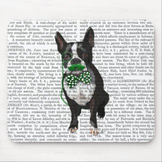 Boston Terrier With Green Moustache And Spotty Mouse Pad