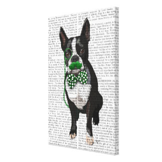 Boston Terrier With Green Moustache & Spotted Tie Canvas Print