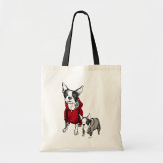 Boston Terrier with Puppy in Tracksuits Tshirt Tote Bag
