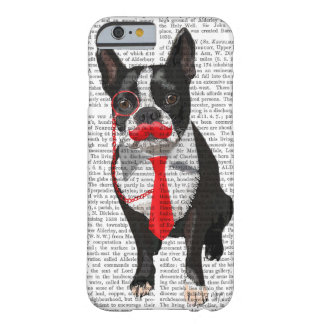 Boston Terrier With Red Tie and Moustache 2 Barely There iPhone 6 Case