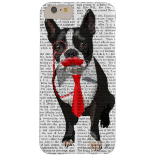 Boston Terrier With Red Tie and Moustache 2 Barely There iPhone 6 Plus Case