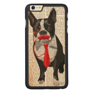 Boston Terrier With Red Tie and Moustache 2 Carved Maple iPhone 6 Plus Case