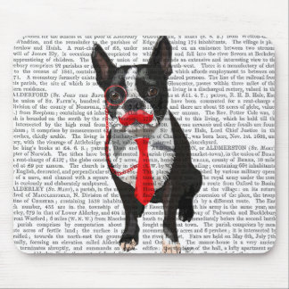 Boston Terrier With Red Tie and Moustache 2 Mouse Pad