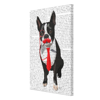 Boston Terrier With Red Tie and Moustache Canvas Print