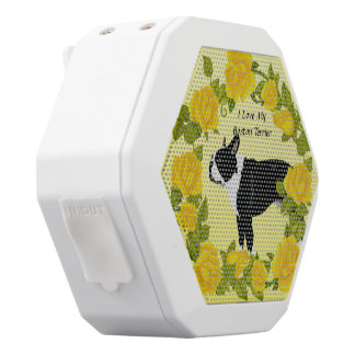 Boston Terrier with Yellow Roses White Bluetooth Speaker