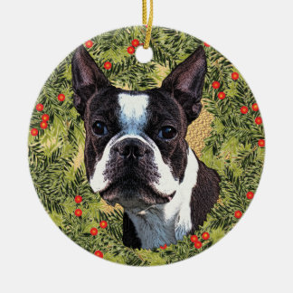Boston Terrier Wreath Christmas Ornament