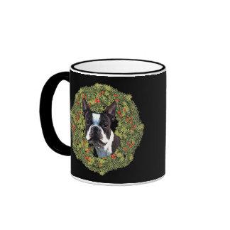 Boston Terrier Wreath Ringer Mug