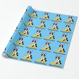 Boston Terrier Yellow Cupcakes Birthday Gift Wrap
