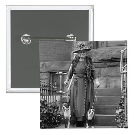 Boston Terriers & 1920s Fashion 15 Cm Square Badge