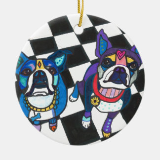Boston Terriers by Heather Galler Christmas Ornament