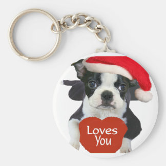 Boston Terriers Santa Key Chains