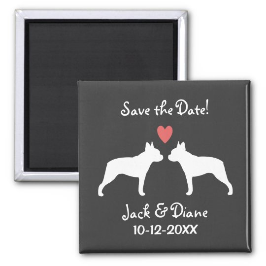 Boston Terriers Wedding Save the Date Square Magnet