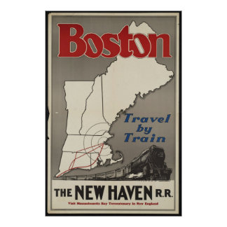 Boston Train Vintage Travel Poster Ad Retro Prints