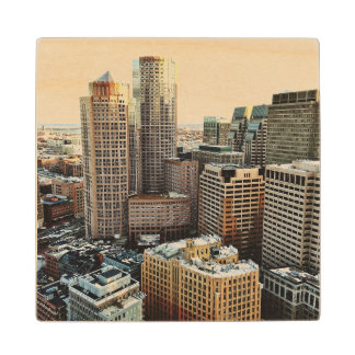 Boston view wood coaster