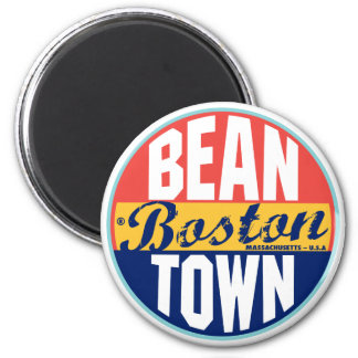 Boston Vintage Label 6 Cm Round Magnet