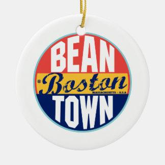 Boston Vintage Label Christmas Ornament