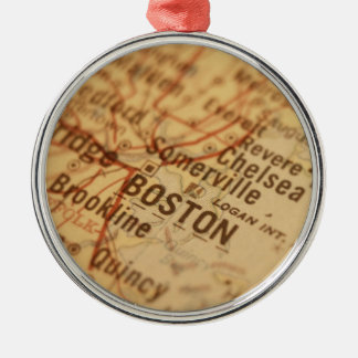 BOSTON Vintage Map Silver-Colored Round Decoration