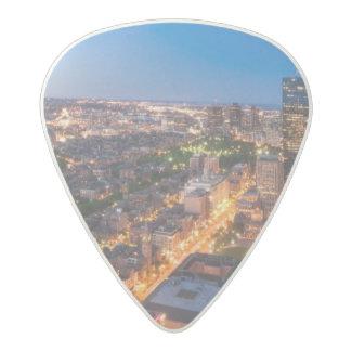 Boston's skyline at dusk acetal guitar pick