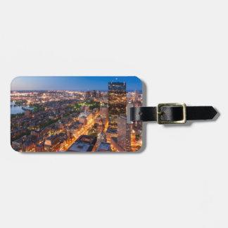 Boston's skyline at dusk bag tag