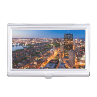 Boston's skyline at dusk business card holder