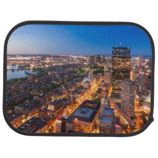 Boston's skyline at dusk car mat