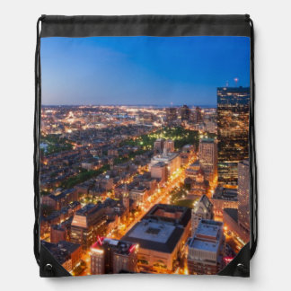 Boston's skyline at dusk drawstring bag