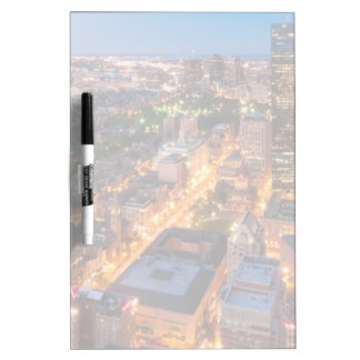 Boston's skyline at dusk dry erase board