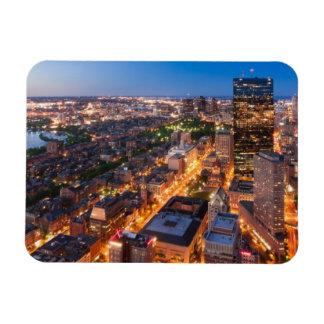 Boston's skyline at dusk magnet