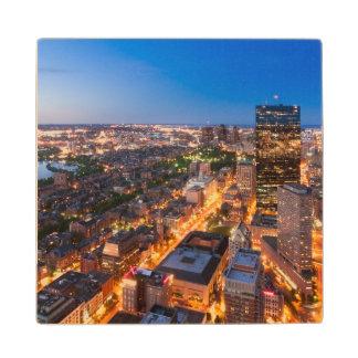 Boston's skyline at dusk maple wood coaster