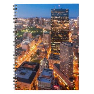 Boston's skyline at dusk notebook