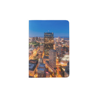 Boston's skyline at dusk passport holder