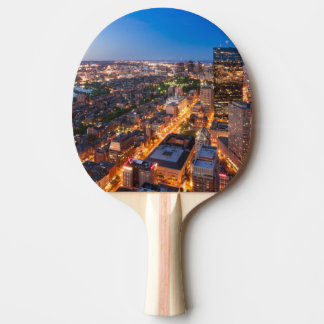 Boston's skyline at dusk ping pong paddle