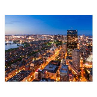 Boston's skyline at dusk postcard