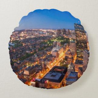 Boston's skyline at dusk round cushion