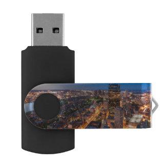 Boston's skyline at dusk swivel USB 2.0 flash drive