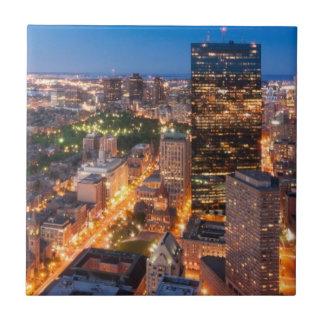 Boston's skyline at dusk tile