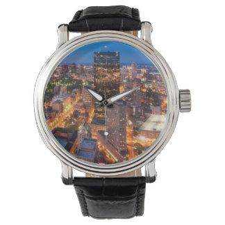 Boston's skyline at dusk wristwatch
