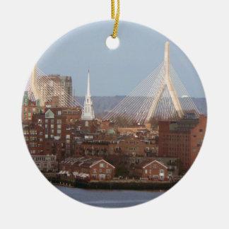 Boston's Waterfront with Zakim Bridge Round Ceramic Decoration